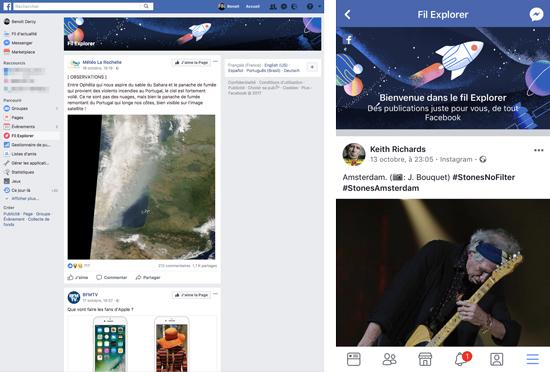 Facebook assigne les posts des sites d'information dans un fil d'actualité séparé